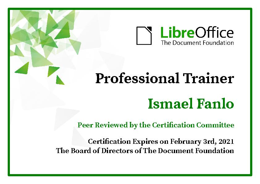 Certificado LibreOffice Professional Trainer