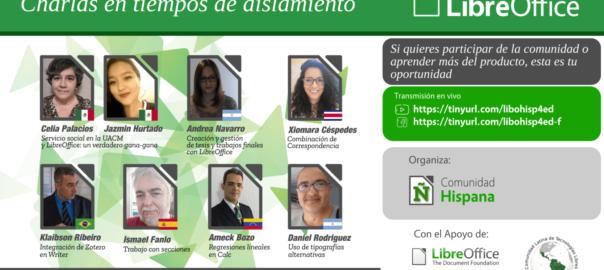 Cartel sobre de la charla de la comunidad hispana de LibreOffice del próximo 22/08/2020.